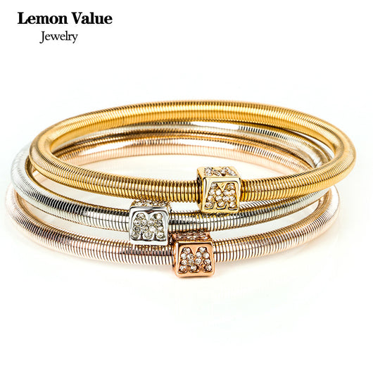 New Punk Gold Geometric Square Bangles Vintage Charms Elastic Force Crystal Letter Bracelet Women Fine Jewelry Pulseras B081 - On Trends Avenue
