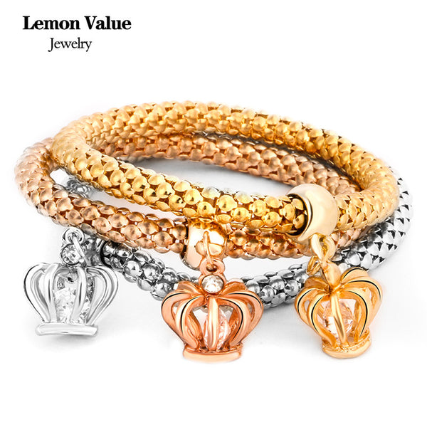 New Punk Gold Chain Multilayer Crown Bangles Vintage Charms Elastic Force Crystal Pendant Bracelet Women Fine Jewelry E007 - On Trends Avenue