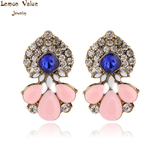 Lemon Value New Statement Bijoux Fashion Charms Candy Color Crystal Gem Rhinestone Drop Earrings Women Jewelry Brincos B027 - On Trends Avenue