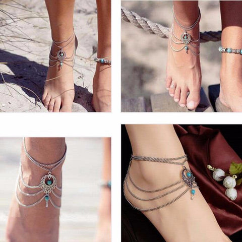 Boho Ethnic Turquoise Beads Anklet Chic Tassel Foot Chain Ankle Bracelet Body Jewelry Anklets For Women - On Trends Avenue