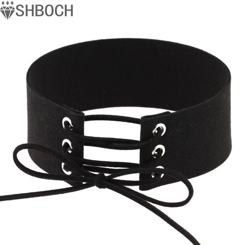 Lace up Choker Black Velvet Choker Necklace Women Gothic Chokers Neck Boho Jewelry  Harajuku Big Chunky Necklace Collier - On Trends Avenue