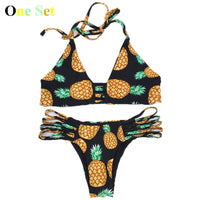 Neck Halter Bikini Set Pineapple Swimsuit Low Waist Backless Bikini - On Trends Avenue