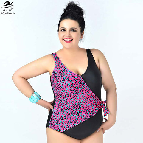 New Fashion  Big Lady Sexy One piece swimsuit Big Women Plus size Swimwear Leopard Patchwork swimwears Bodysuit Bathing suit - On Trends Avenue
