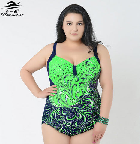 Brand  Fashion Sexy Plus size swimwear one-piece Big women  swimwear for big women Monokini swimsuit Flower print clothes - On Trends Avenue