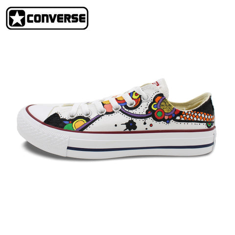 Men Women Converse Chuck Taylor Floral Totem Original Design Hand Painted Shoes White Low Top Sneakers Skateboarding Shoes