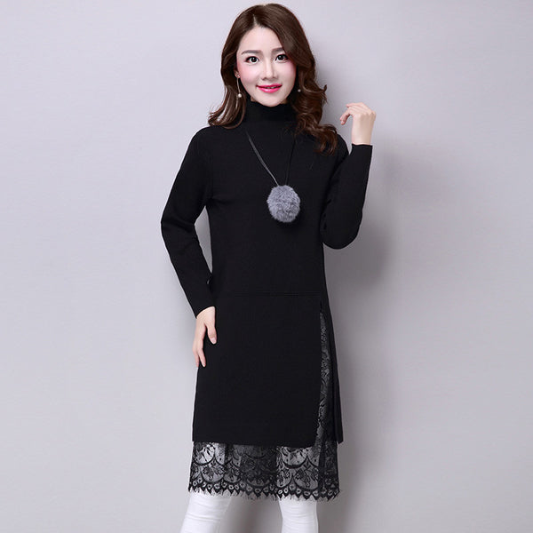 European Turtleneck Collar Pullovers Patchwork Lace Skirt Elastic Long Knitted Sweater Dress Multicolors Sweaters Knitwear - On Trends Avenue