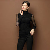 Available in Large Sizes Women Sweaters Plus Size 3XL Sweter Mujer Black Sexy Turtleneck Diamond Pullover Slim Lace Long Sleeve Basic Pull Femme - On Trends Avenue