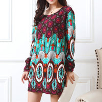 new Long-sleeve O-neck cashmere sweater large size casual print dress thin fashion pullovers tops cotton and polyester - On Trends Avenue