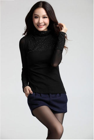Available in Large Sizes  Plus Size S-3XL Women Sweaters women's TurtleNeck diamond chiffon long sleeve black sexy pullover sweaters Basic Shirt. - On Trends Avenue