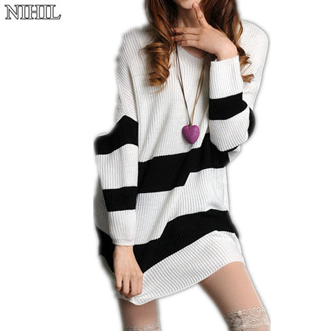 Available in Large Sizes White Loose Batwing Sleeve Striped Knitted Sweaters Fashion Women Plus Size Long Crochet Pullovers Female Pull Outwear Top - On Trends Avenue