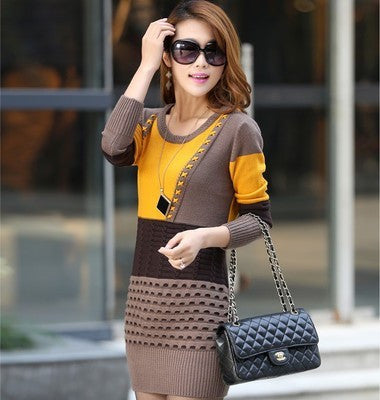 Available in Large Sizes Woman Winter Dress Knitted Dress Turtleneck Long Sleeve Women Sweater Dress Sweaters and Pullovers Plus Size Women Clothing - On Trends Avenue