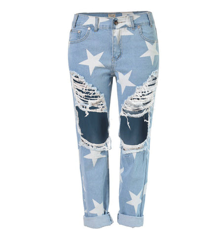 Fashion Style Big Hole Jeans For Women With Star Ripped Jeans Light Blue Denim Pants Boyfriend Jeans For Women - On Trends Avenue
