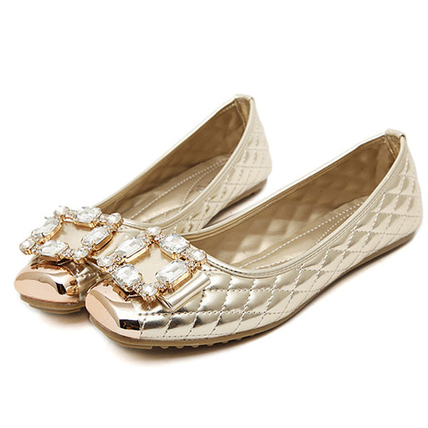Available in Large Sizes and Ballet Flats Women Elegant Brand Shoes Diamond Design Women's Flats Luxury Plus Size 35-42 - On Trends Avenue