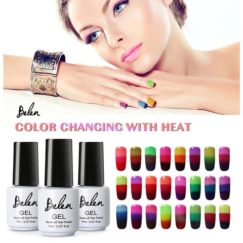 Belen 3 in 1 Thermal Color Changing Nail Art Polish Soak Off UV LED Gel Lacquer Gel Polish Chameleon Salon Soak Off Nail Art 7ml - On Trends Avenue
