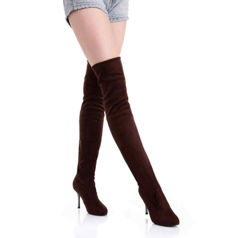Big Size Women's / Folding Over the Knee Boots Sexy Thin High Heel Boots Fashion Pointed toe Boots Women Shoes - On Trends Avenue