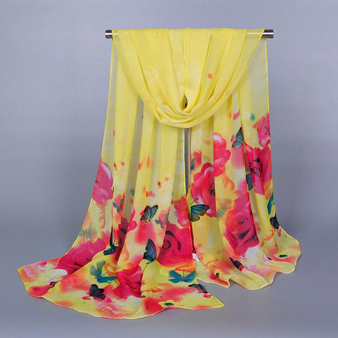 New Arrival hijab Super Long Chiffon Decorative Floral Fabric Fabric Shawl - On Trends Avenue