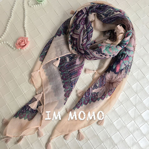 Fashion Floral Print Fringed Scarf and Wrap for Women Ethnic Style Flower Bandana and Foulard Ladies Soft Beach Shawls - On Trends Avenue