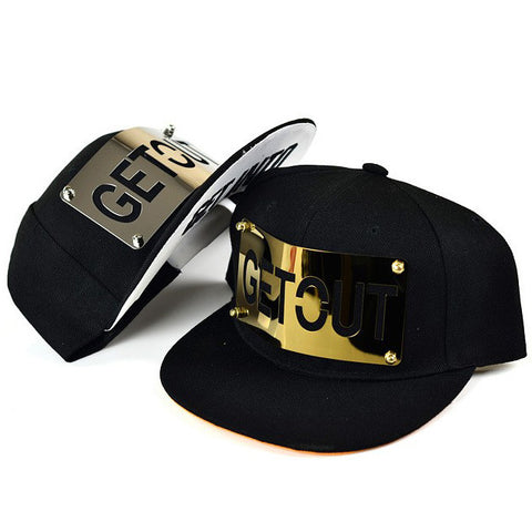 baseball caps for man and woman hip hop Metal gold silver Letter GET OUT hats flat brim cool Novelty unisex Adjustable B294 - On Trends Avenue