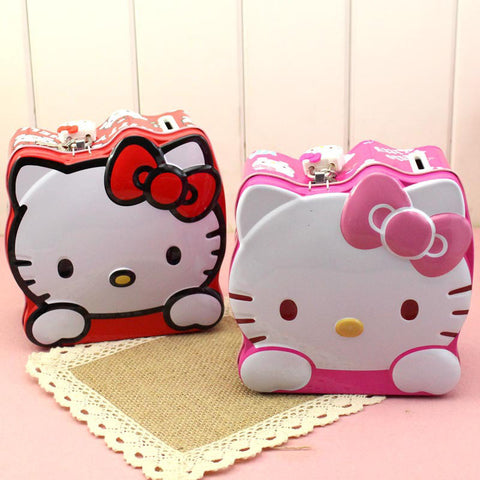Lovely Moneybox Cartoon Hello Kitty Coin Piggy Bank Money Box Money Saving Box with Lock Gifts For Kids  C0 - On Trends Avenue