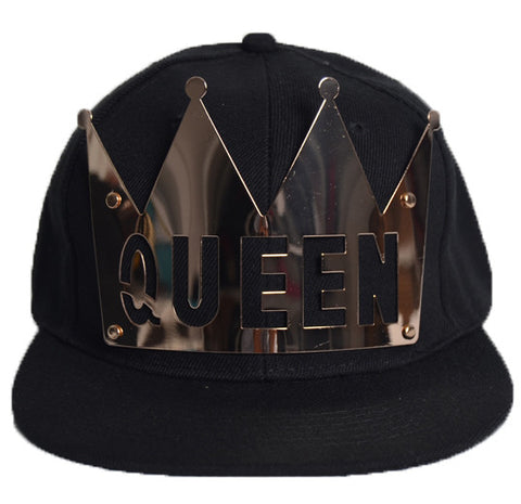 punk street fashion Novelty baseball caps metal with letter King Queen designer brand bones gorras hip hop boy hat - On Trends Avenue
