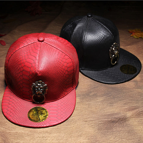 metal lion Fashion Casual Snapback PU Leather Snake Skin Street dance Baseball Caps Gorras Hip Hop Hats Touca For Men Women - On Trends Avenue