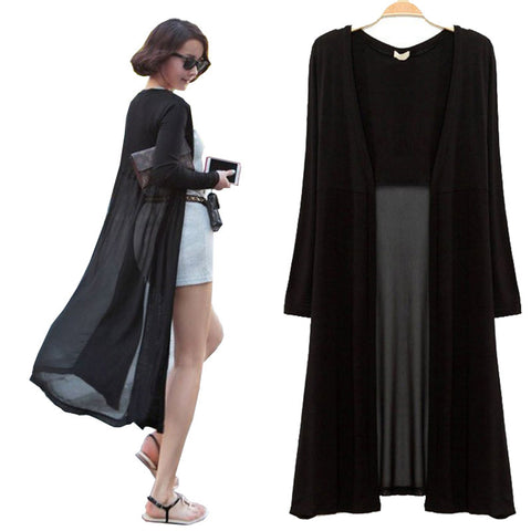 Maxi Cardigan Feminino Ankle Length Sweater Coat Women Knitted Long Sleeve Korean Vintage Black Oversized Sweaters Dress - On Trends Avenue