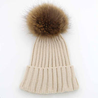 Winter Knitted Hats for Women With Real Raccoon Fur PomPom Hats Soft Womens Skullies Beanies Winter Ladies Big Pom pom Hat - On Trends Avenue