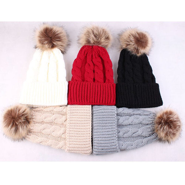 Fashion Women Winter Warm Hat Knitting Wool Cap Soft Crochet Knitted Wool Fur Beanie Pompom Ball Adjustable Hat - On Trends Avenue
