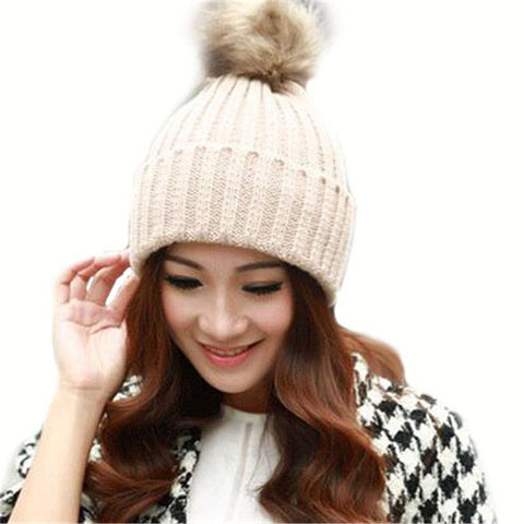 Real Dyeing Raccoon Fur Pompom Woman Winter Cap With Fur Pom Pom Knitted Bobble Beanie Hats Women Ski Caps With Pompon Ball M059 - On Trends Avenue