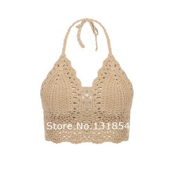 Blusas Sexy Crochet Bikini Top Vintage Boho Bralette Halter Crop Tops Crochet Wave Trim Beach Top Coveups Fashion Women Camisole - On Trends Avenue
