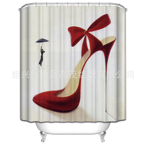 Personalized Red High-heeled Shoe Pattern Shower Curtain Polyester Waterproof Bathroom Partition Shower Curtain 180x180cm - On Trends Avenue