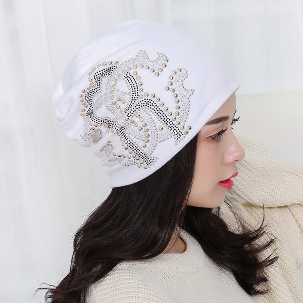 girl beauty beanie designer customized novelty winter hats for women bling crystal pattern casual skullies hat woman brand gorro - On Trends Avenue