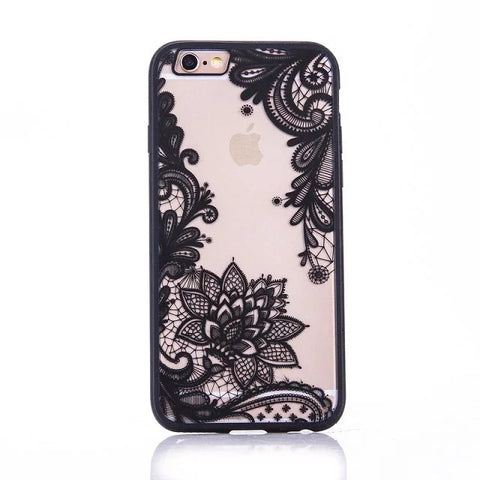 Fashion Sexy Lace Floral Paisley Flower Mandala Henna Clear Case For iphone 6 6S 7 6s 7 Plus Phone Cases Cartoon Capa Back Cover - On Trends Avenue