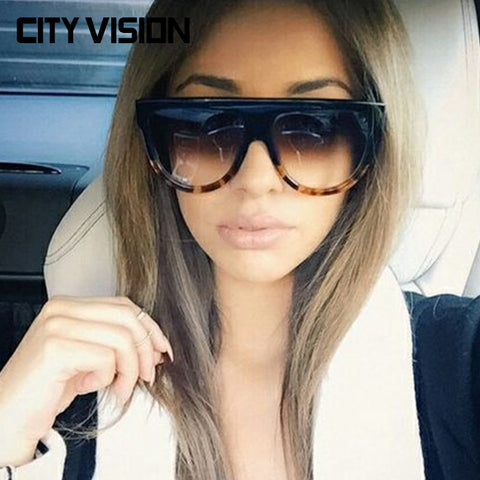 Flat Top Mirror Sun Glasses for Women Sunglasses French brand Sunglass Retro Eyewear Men UV400 New - On Trends Avenue