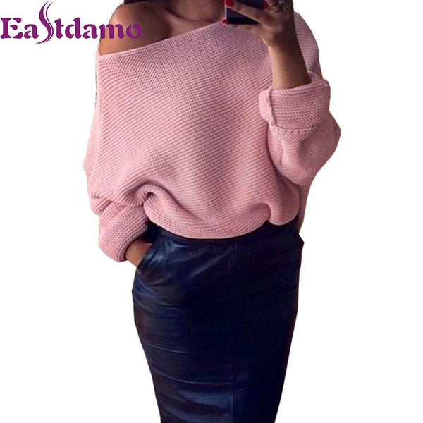 Casual Sexy Off Shoulder Knitted Sweater Women with Batwing sleeves in 6 Colors - On Trends Avenue