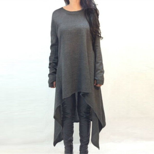 New O Neck Full Sleeve Long Knitted Dress Irregualr Hem Loose Casual Maxi Sweater Solid Vestidos Plus Size - On Trends Avenue