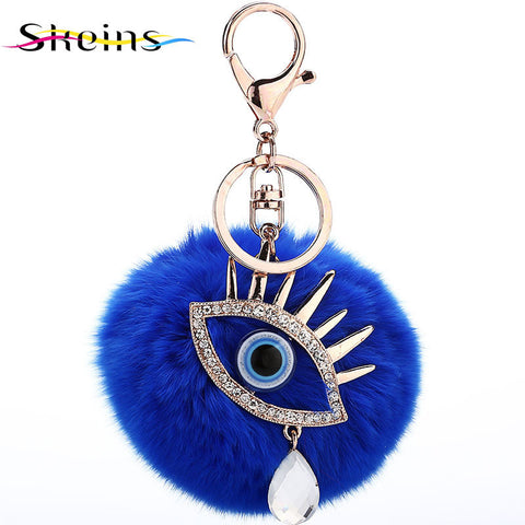 Skeins Jewlry Plush Ball Keychain Car Keychain Accessories Manufacturers Selling Fashion Crystal Tears Evil Eye - On Trends Avenue