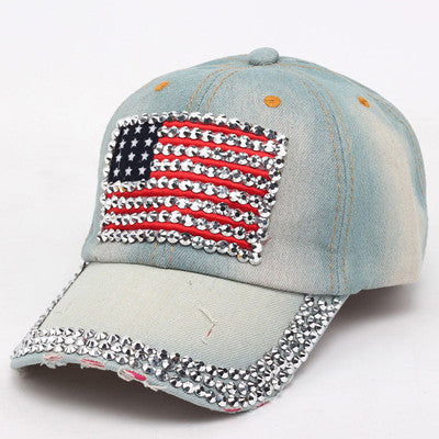 New Fashion Women Jeans Denim Cap American Flag Rhinestone Baseball Bling Hat Adjustable New - On Trends Avenue