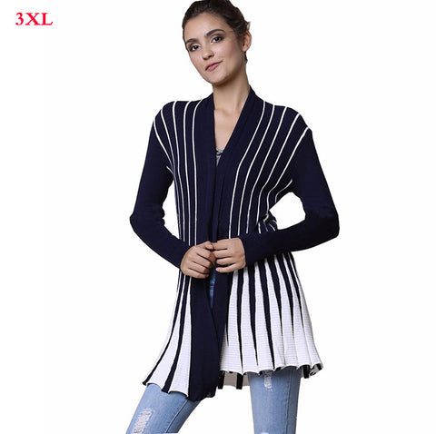 Large size women's Summer knitted cardigan Sweater shawl Large size women Striped knit  Cardigan sweaters  coat - On Trends Avenue