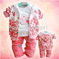3pcs/set flower baby girl clothing set girl's clothes coat+t-shirt+pants - On Trends Avenue