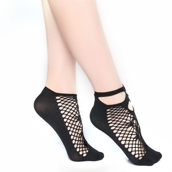Fashion Sexy Women Lady Soft Black Lace Ruffle Fishnet Mesh Short Ankle Socks New - On Trends Avenue