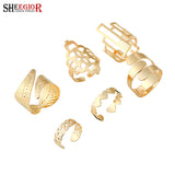 6pcs/set Punk Metal Gold Plated heart rings set Geometry ring finger jewelry - On Trends Avenue