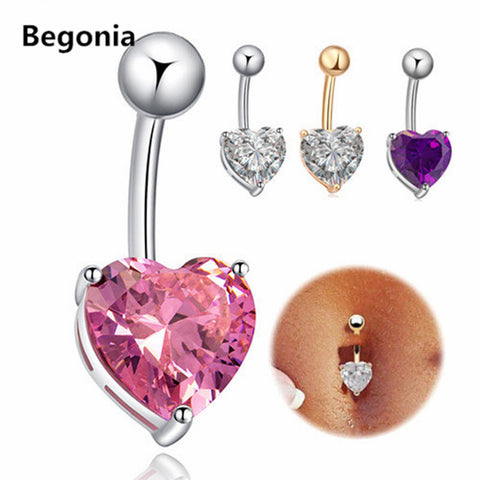 Fashion Love Heart belly button rings Bar Gold / Silver Plated Surgical Piercing Sexy Body Jewelry for women CZ navel piercing - On Trends Avenue