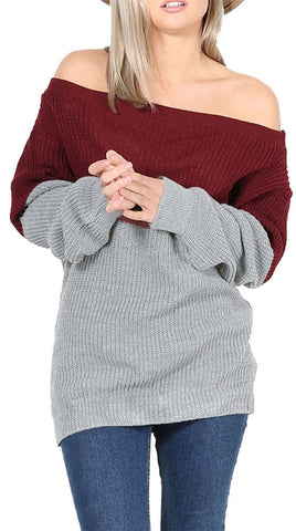 Sexy Off Shoulder Sweater Tops Warm Women's Contrast Color Pullovers Plus Size 3 Color Sweater Shirts LX100 - On Trends Avenue