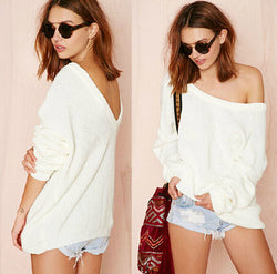sexy off shoulder plus size shirt sweater tops puff sleeve long sleeved white backless knitted pullovers hemisier blusa - On Trends Avenue