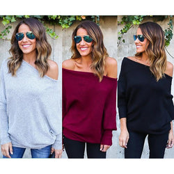 Casual Off Shoulder Sexy Batwing Sleeve Loose Pullover Knitting Sweater Tops - On Trends Avenue