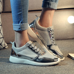 Manresar New Fashion Female Girl Shoes Breathable Canvas Women Low Wedges Lace-up Casual Shoes Platform Sliver Golden Black - On Trends Avenue