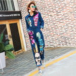 Brand Personality Denim Jeans Siamese Jumpsuit Women Cartoon Sequined Jumpsuit Long Sleeve Rompers 1685 - On Trends Avenue