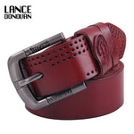 Men's Belts Top Luxury 100% Genuine Cowskin Leather Casual Design Mens Belts - On Trends Avenue