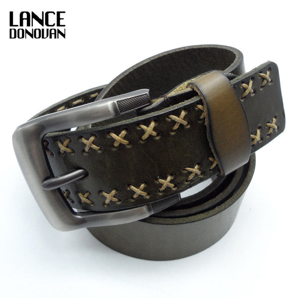 High Quality Real Cowskin Leather Belt Men Luxury Brand Straps Plus Length 110-125cm - On Trends Avenue